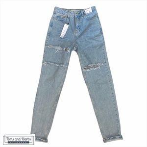 TOPSHOP Premium Distressed Mom Jeans 25W x 32L
